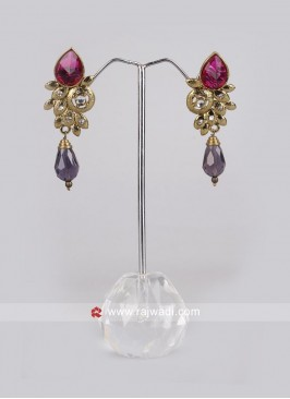 Magenta and Rani Drop Earrings