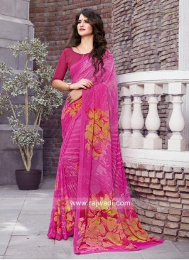 Magenta Casual Printed Saree