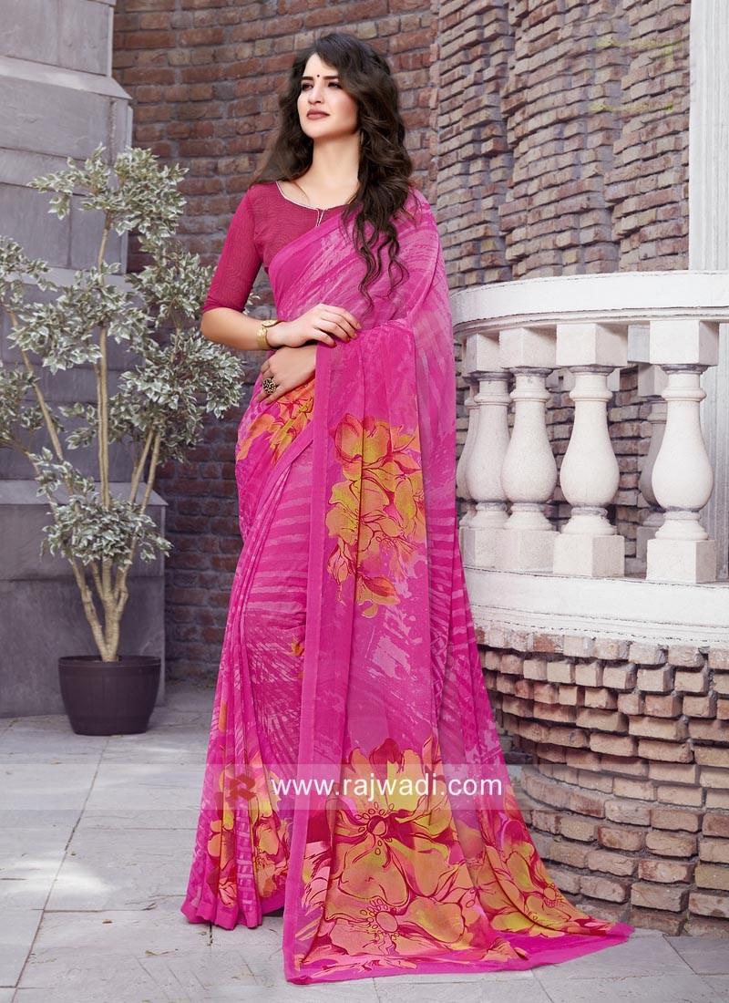 Magenta Casual Printed Saree
