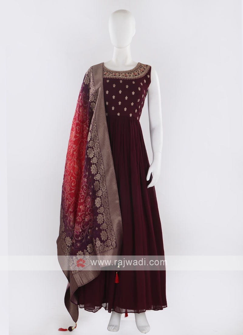 Magenta color Anarkali Suit with dupatta