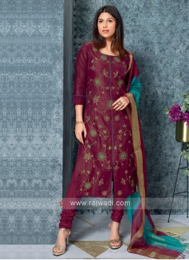 Magenta Color Kurta with Churidar & Dupatta