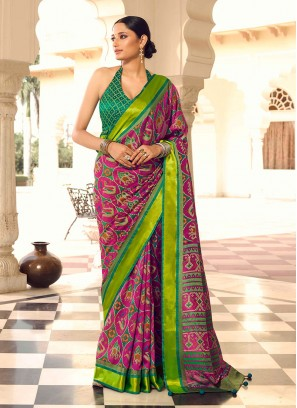 Magenta Color Patola Printed Art Dola Silk Saree