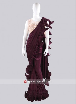 Magenta Color ruffle saree