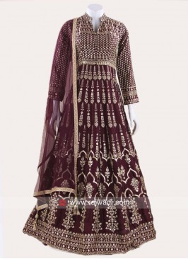 Magenta Crepe Silk Embroidered Anarkali Suit