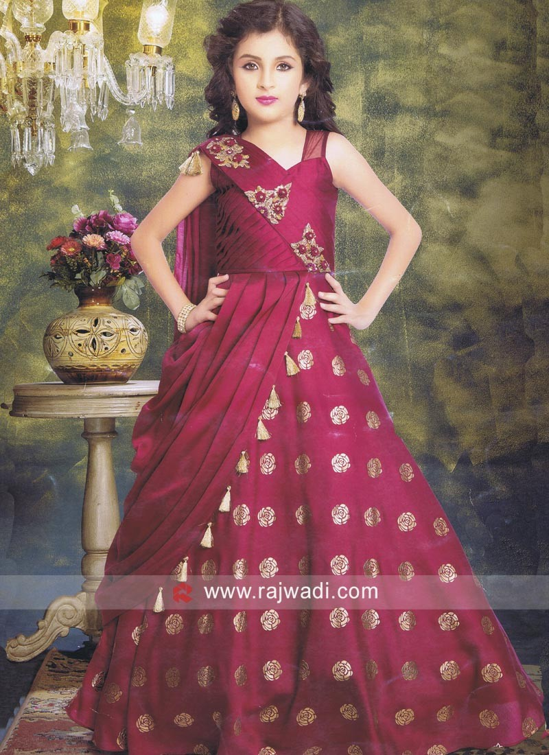 Magenta Floor Length Gown for Kids