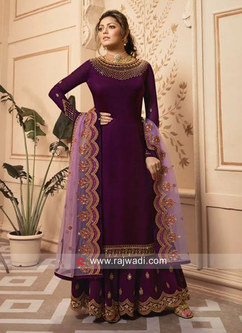 Magenta Satin Silk Churidar Suit