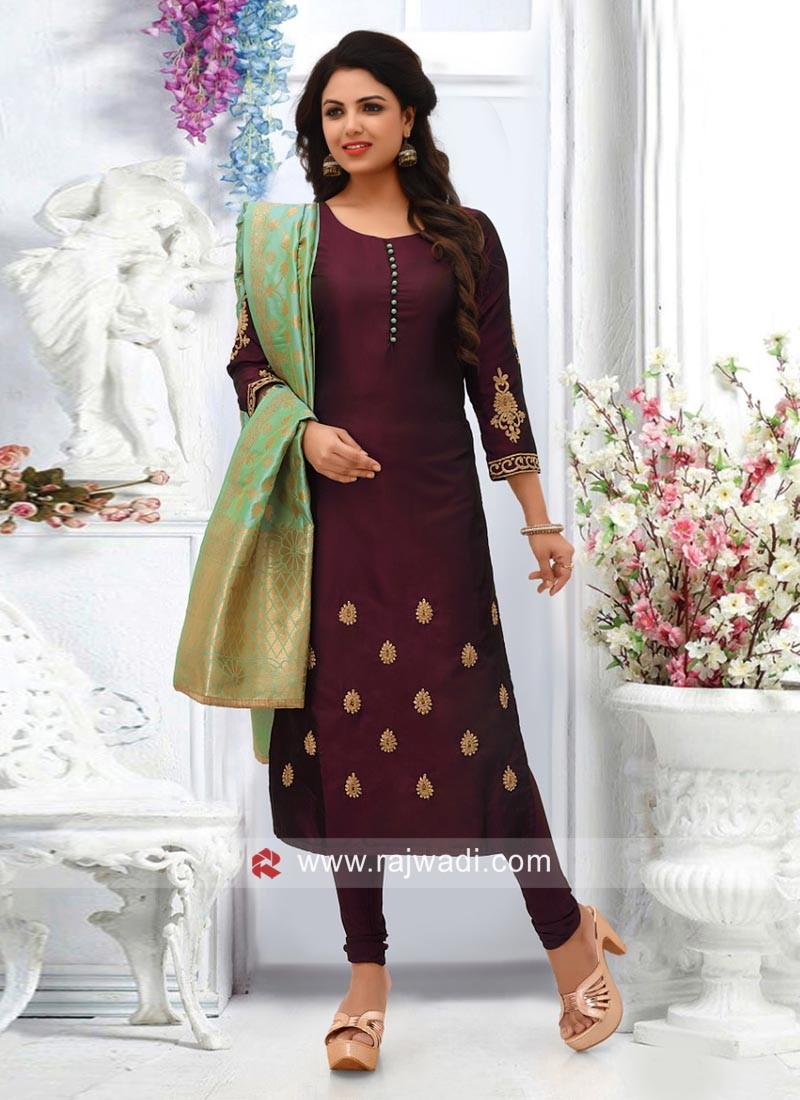 Magenta Salwar Suit with Sea Green Dupatta