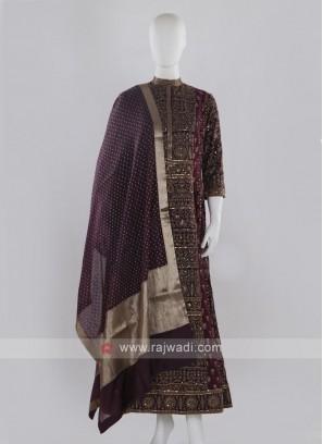 Magents Color Anarkali Suit with dupatta