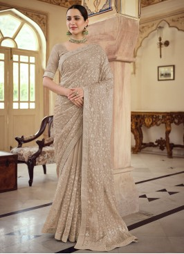 Magnetic Faux Chiffon Brown Trendy Saree
