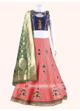 Magnificent Dark Navy Blue and Dark Peach Chaniya Choli
