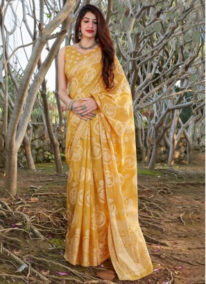 Magnificent Yellow Printed Silk Traditional Saree