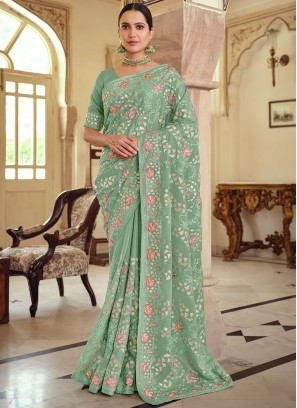 Majestic Embroidered Wedding Trendy Saree
