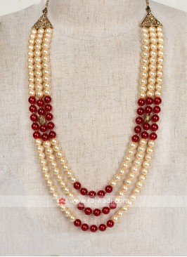 Mala For Groom In Maroon And Golden Color