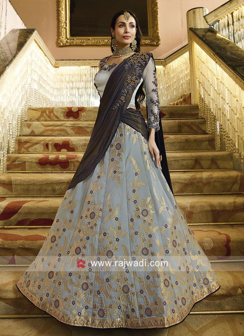 Malaika Arora Khan Embroidered Lehenga Choli in Grey