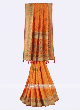 Mango color chiffon silk saree