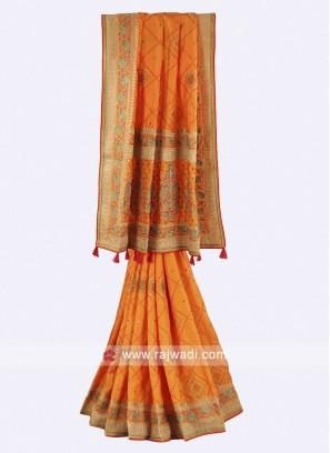 Mango color chiffon silk saree