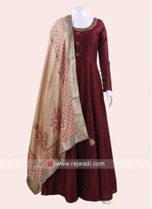 Maroon Anarkali Suit with Dupatta