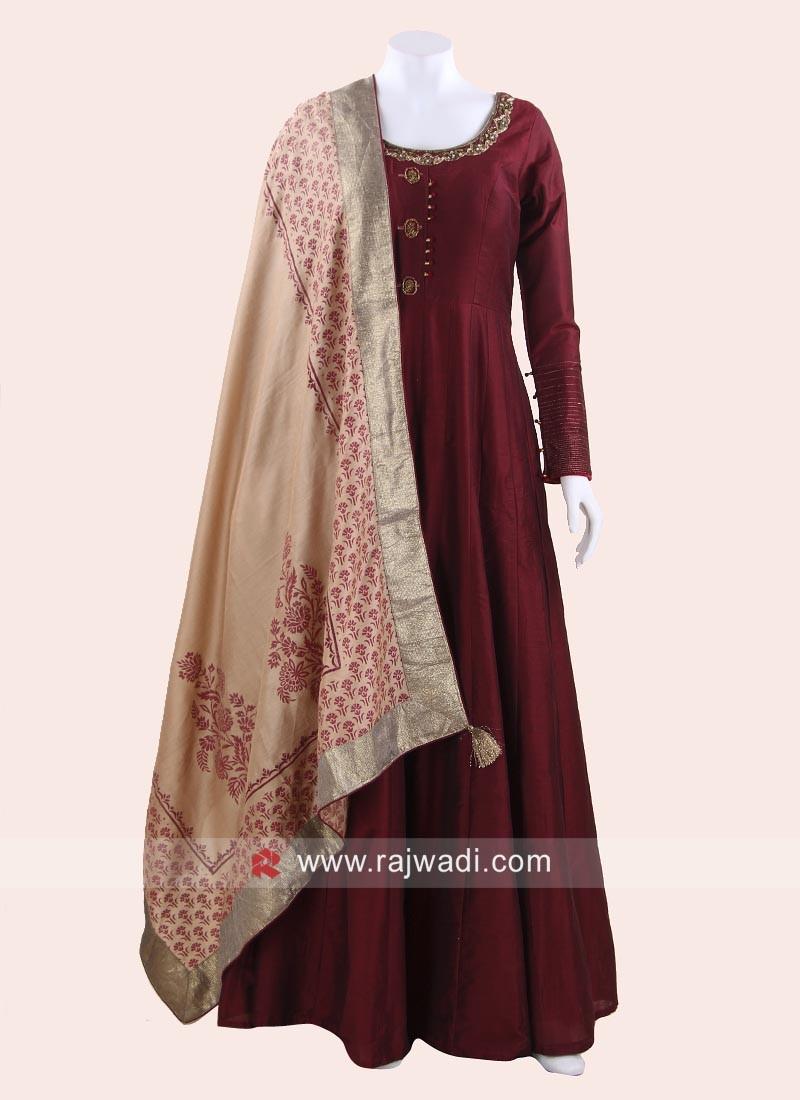 Maroon Anarkali Suit with Dupatta