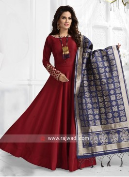 Maroon Anarkali with Blue Dupatta