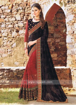 Maroon and Black Art Silk Saree