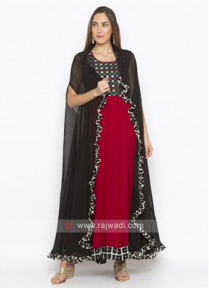 maroon and black color anarkali suit