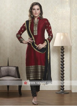 Maroon and black color salwar suit with dupatta