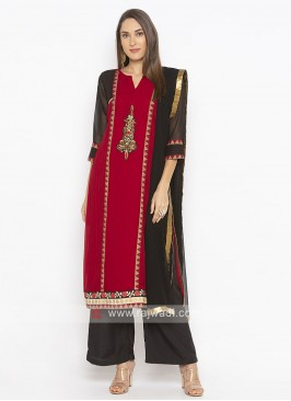 Maroon and Black colour Salwar Suit