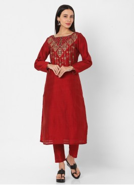 Maroon And Black Embroidery Pant Style Kurti
