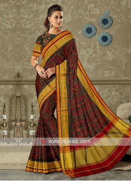 maroon and black pure silk saree