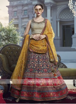 Maroon and blue color silk lehenga choli