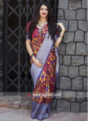 Maroon and Blue Weaved Saree