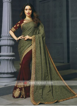 Maroon And Brown Half And Half Saree