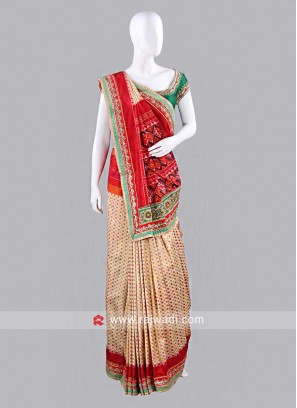 Maroon and Cream Patola Sari