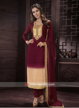 Maroon and Cream Salwar Kameez