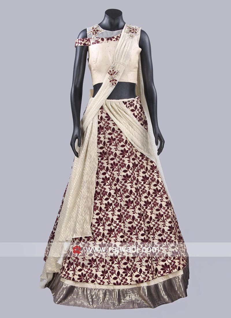 Maroon and Golden Cream Lehenga Set