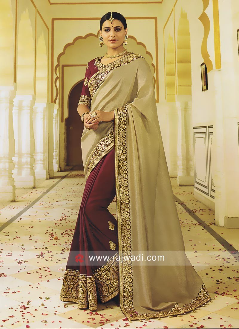 Maroon and Golden Half Saree