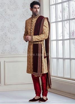 Maroon and Golden High Neck Sherwani