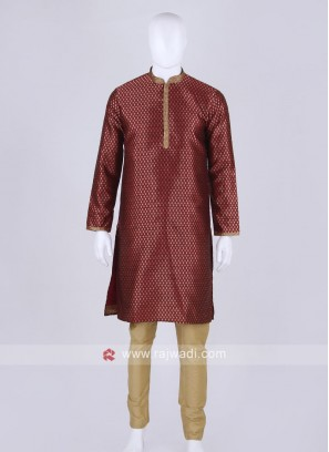 maroon and golden kurta pajama