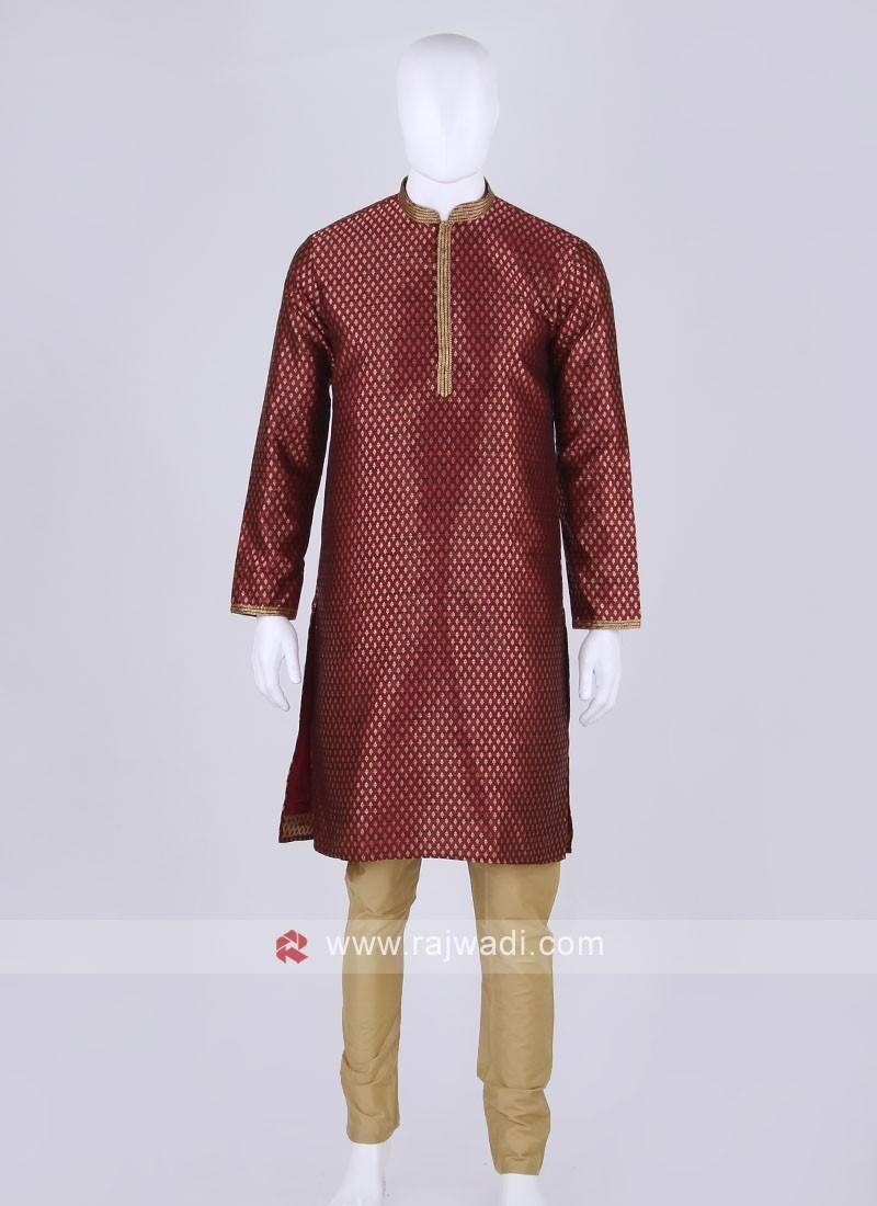maroon and golden kurta pajama