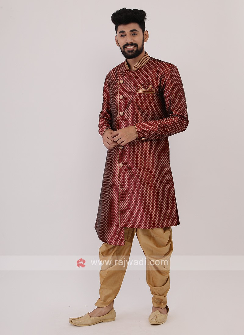 Maroon And Golden Mens Indo-Western