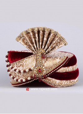 Maroon and Golden Safa for Groom