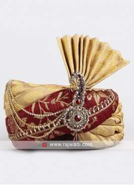 Maroon and Golden Wedding Safa