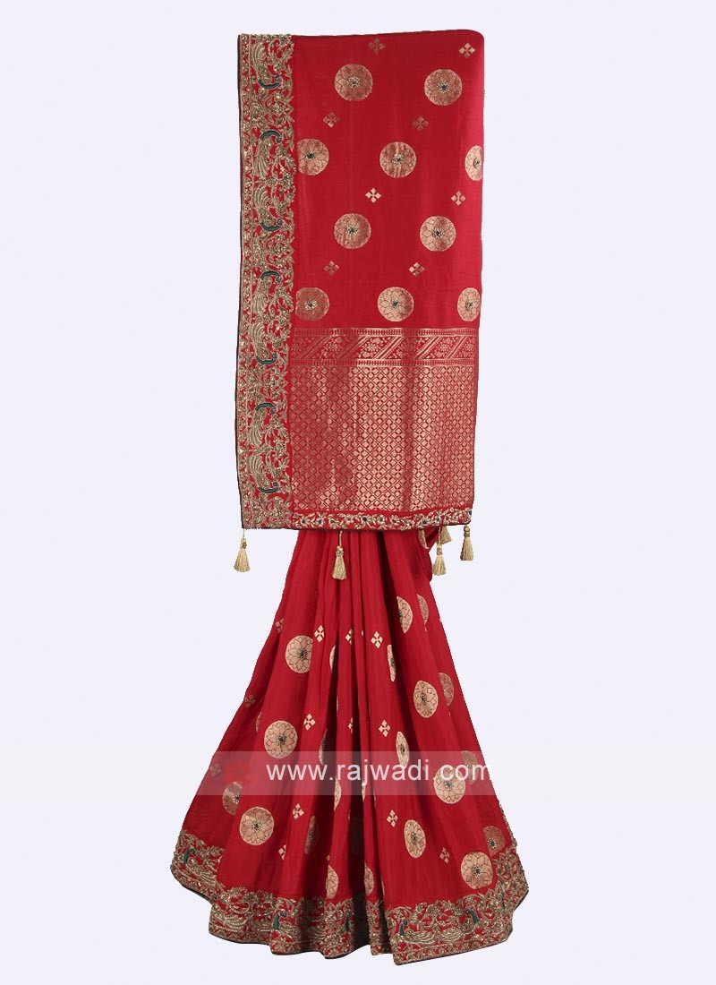 Maroon and green color banarasi silk saree