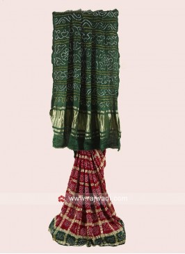 Maroon and Green Gajji Silk Bandhani Saree