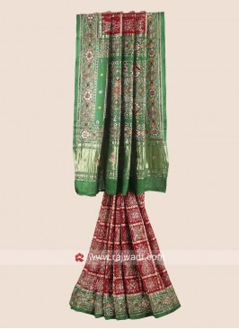 Maroon and Green Gajji Silk Gharchola Saree