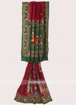 Maroon and Green Panetar Saree