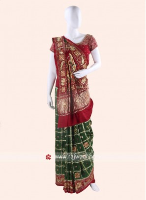 Maroon and Green Panetar Saree with Blouse
