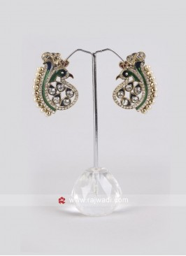Maroon and Green Peacock Earrings