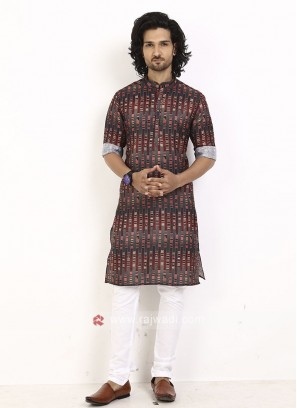 Maroon and grey printed kurta