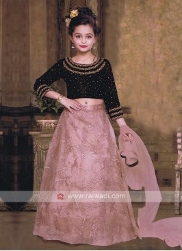 Maroon and light pink choli suit